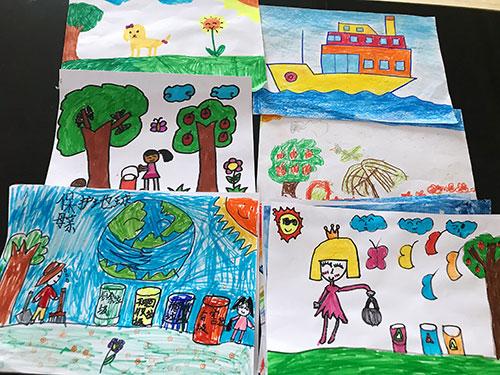 """龙泉街道大通桥社区开展""""我心中的垃圾分类""""儿童绘画畅想活动.-"""